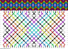 9 colors, 30 strings(2a; 2b; 4c; 2d; 8e; 2f; 6g; 2h; 2i), 16 rows #friendship #bracelet #pattern #wristband #handmade #craft #DIY #gradient #rainbow #stripes #dashes #cross #x Pattern#89711 by dianis