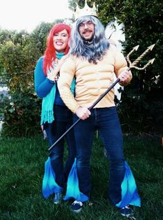 Ariel Little Mermaid & King Triton DIY costume!