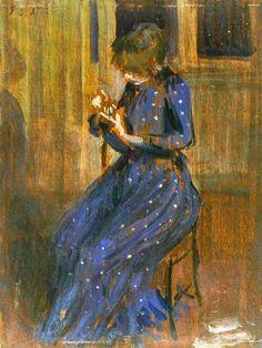 Ilustraciones de Philip Wilson Steer - muchacha en un vestido azul, (1891) | pintura | Óleo sobre lienzo | Artstack - Arte en Internet
