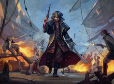 A fearless pirate walking through a dock toward the viewer. Dungeons And Dragons, Fantasy Art, Darth Vader, Adventure, Walking, Artwork, Unicorns, Fictional Characters, Environment