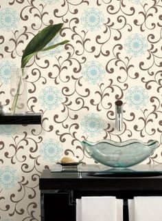 Robin58@bellsouth.netAP7459 Medallion with Scroll from Silhouettes by Ashford House is a wallpaper with a brown scroll and blue circular floral medallions on a beige background.
