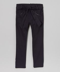 Look what I found on #zulily! Navy Skinny Belted Pants - Girls by Beverly Hills Polo Club #zulilyfinds $14.99, regular 24.00