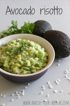 Avocado risotto with edam cheese, a perfectly mild and creamy rice dish.   oh but with butternut squash or mushrooms maybe!