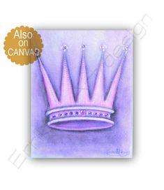 Princess Crown Wall Art, Princess Decor, Cinderella's Crown Art Print, Purple, Princess Wall Art, Girls room decor, Princess Nursery Art