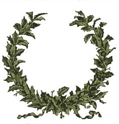 """This is a wonderful Holly wreath from an 1890's magazine! I've included two versions one with the originally lettering """"A Christmas Garland"""", and one without, so that you can use this as a frame if you would like too."""