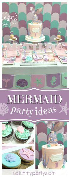 Take a look at this pretty Mermaid 1st birthday party! The birthday cake is amazing!! See more party ideas and share yours at CatchMyParty.com  #mermaid #1stbirthday