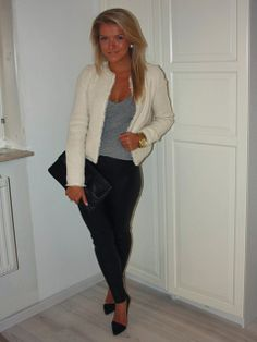 Black pants gray shirt, light blazer/cardi