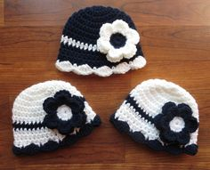 Crocheted Baby Girl Triplet Hat Set ~ White and Dark Navy Blue ~ Baby Shower Gift or Photo Prop ~ Sizes Newborn to 24 Months - MADE TO ORDER by KaraAndMollysKids on Etsy
