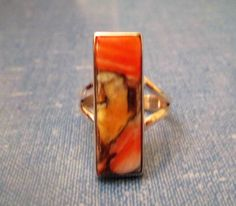 RING  - SPINY OYSTER  -Elongated -  925  - Sterling Silver - Vintage - Size 7 1/2 multi39 by MOONCHILD111 on Etsy