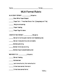 This quick 50 points for three sections Rubric is designed to help assess students quickly and formally. The rubric is set up so that every portion of an MLA cited essay can be checked for format. Each blank is worth 10 points and adds up to a score of a 150.