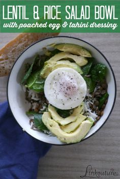 {Recipe} Lentil & rice salad bowl with poached eggs