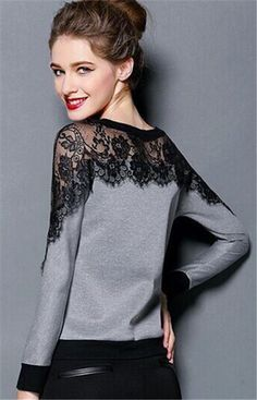 Korea Women Casual Fashion Lace Perspective Long Sleeve Tops Blouse_T-Shirts & Tanks_TOPS_CLOTHING_The Latest Trends & Fashion Clothing For Women Online Store-www.dressin.com