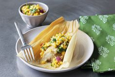 Pulled Pork Tamales with Corn Salsa. Pulled pork is encased in corn masa then steamed until light and tender. Accompanying the tamal is a corn salsa spiked with serrano chile. Mexican Dishes, Mexican Food Recipes, Ethnic Recipes, Drink Recipes, Bbq Pork, Pulled Pork, Pork Tamales, Small Baking Dish, Kitchens