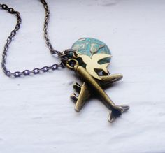 Airplane Globe Necklace. World Traveler. Sparrow Necklace. Verdigris. Swallow. Air Force. Plane. Jet. on Etsy, $22.00