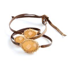 Jurate Crocheted Triple Wrap Bracelet in Yellow Jade