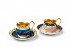 - Two Neoclassical Berlin KPM porcelain cups - Lot 161 - Result: - Find all details for this object in our online catalog! Tea Cup Saucer, Tea Cups, Berlin, Porcelain Ceramics, Hand Painted, China, Tea Pot, Cobalt, Tableware