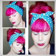 Turqouise Aqua and white polka dots WIDE Headwrap Bandana Hair Bow Tie 1950s Vintage Style - Rockabilly - Pin Up - For Women, Teens