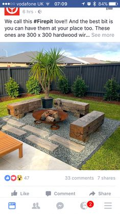 Backyard Fire Pit Area Fence 46 Ideas For 2019 Backyard Seating, Backyard Patio Designs, Small Backyard Landscaping, Fire Pit Backyard, Landscaping Ideas, Deck With Fire Pit, Outdoor Fire Pits, Backyard Ideas For Small Yards, Garden Fire Pit