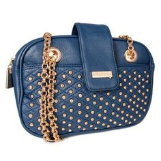 Miadora 'Juliana' Navy Gold-studded Shoulder Bag