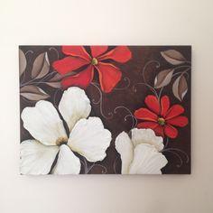 Tela, 30 x 40 cm, flores brancas (textura de massa corrida) e vermelhas