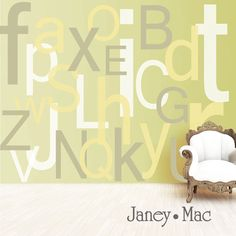 Alphabet Wall Decal Large Oversized Letters  by JaneyMacWalls, $68.00