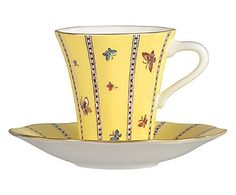 Wedgwood Harlequin Collection Yellow Butterfly Teacup and Saucer ♥༺❤༻♥ Cup And Saucer Set, Tea Cup Saucer, Yellow Cups, Crystal Stemware, Bone China Tea Cups, My Cup Of Tea, China Patterns, Mellow Yellow, Wedgwood