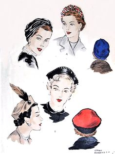 1950s CHIC Hats Pattern VOGUE 6596  Two Stylish Styles Draped Turban and Sectional Beret Hats Vintage Sewing Pattern