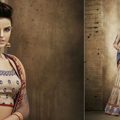 4 Cream with Blue & Red Lehenga Red Lehenga, Cream, Blue, Accessories, Collection, Fashion, Chowder, Moda, La Mode