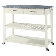 White Kitchen Cart With Salt And Pepper Granite Top | White Kitchen Cart,  Granite Tops And Kitchen Carts
