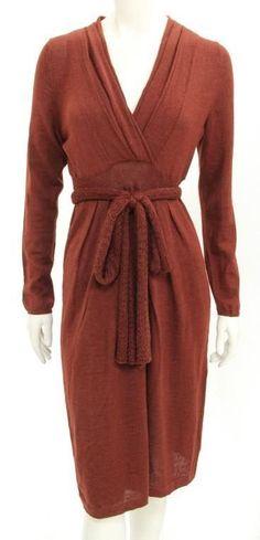 Peruvian Connection Burnt Orange Alpaca & Silk V-Neck Belted Sweater Dress Sz M #PeruvianConnection #SweaterDress