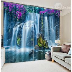 Beautiful Waterfall Scenery 3D Blackout Curtain on sale, Buy Retail Price 3D Scenery Curtains at Beddinginn.com