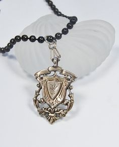 Edwardian Shield Pendant . Long Chain . Sterling by MalibuJewel, $85.00