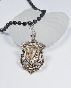 Edwardian Shield Pendant . Long Chain . Sterling by MalibuJewel, $85.00