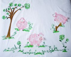 Crib bedding Set Hand painted Little Lambs 4 piece by Marutxi, $150.00