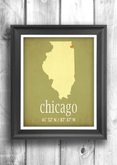 Chicago map art typographic print city poster wall sign choose your state, city and color, Longitude and Latitude map - 11x14 Typography