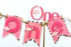 Flamingo first birthday smash cake set, flamingo birthday decorations, flamingo highchair banner, flamingo cake topper, gold and black