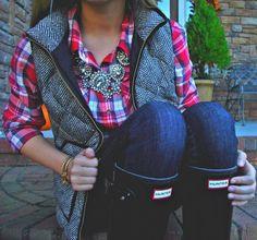 jcrew vest, plaid shirt, hunter rain boots & a statement necklace. Perfect