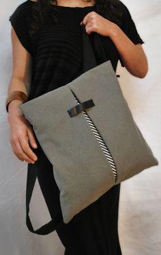 Delicate backpack & crossbody bag Light gray by misirlouHandmade
