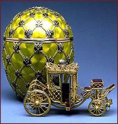 Imperial Faberge eggs created by Carl Faberge. Easter was a very important time in Russia because of the Orthodox faith. Faberge approached Emperor Aleksandr III in 1884 and told him that next Easter he would make a gift for the Empress Maria. All he would say that it was going to be an egg with a surprise in it.The result was an ordinary looking hen's egg that became the first of the Imperial Faberge eggs.