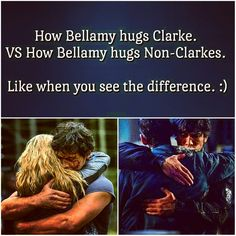 "How Bellamy hugs Clarke VS how Bellamy hugs everyone else. Does this look ""platonically"" the same to you?"