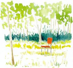 Landscape Art Print of Original Watercolor Painting --Red Chair