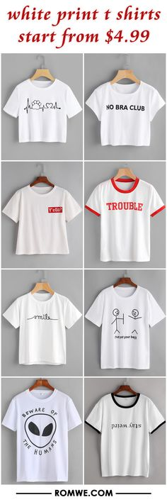 white print t shirts from $4.99