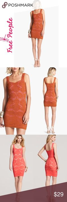 FREE PEOPLE Seamless Medallion Sweetheart Lace Excellent condition.  A lacy motif in super stretchy netting over a light orange lining gives sultry style to a fitted tank dress. Lined. Nylon/spandex; hand wash. By Free People; made in the USA. Free People Dresses