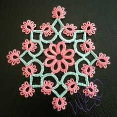Aqua and Coral… Shuttle Tatting Patterns, Needle Tatting Patterns, Crochet Doilies, Crochet Lace, Tatting Tutorial, Thread Art, Tatting Lace, Lace Making, Lace Patterns