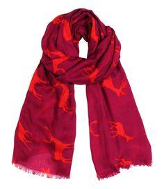 Women's Luxurious Deer & Moose Animal Print Berry Color Fashion Shawl Scarf Wrap: Amazon.co.uk: Clothing