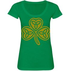 #GoldCelticKnot #Clover #GreenScoopneckTshirt by #MoonDreamsMusic #StPatricksDayStyle