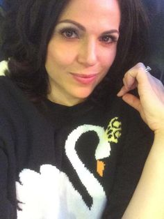 Lana Parrilla:‏@LanaParrilla: Cozying up in my new @REDValentino sweater! Love it!! Thank you again! Baci #SwanQueen #EvilRegals