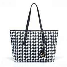 Michael Kors Jet Set Travel Houndstooth Saffiano Large Black Totes