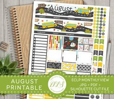 August Monthly View Stickers Back to School fits EC Life Planner Monthly Spread…