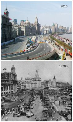Snapshots, 90 years apart. The Bund, Shanghai.